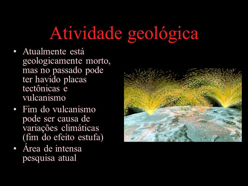 Atividade geológica Atualmente está geologicamente morto, mas no passado pode ter havido placas tectônicas e vulcanismo Fim do vulcanismo pode ser causa de variações climáticas (fim do efeito estufa) Área de intensa pesquisa atual