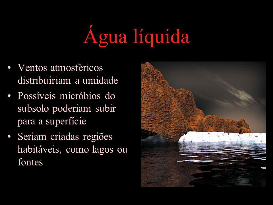 Água líquida Ventos atmosféricos distribuiriam a umidade Possíveis micróbios do subsolo poderiam subir para a superfície Seriam criadas regiões habitáveis, como lagos ou fontes