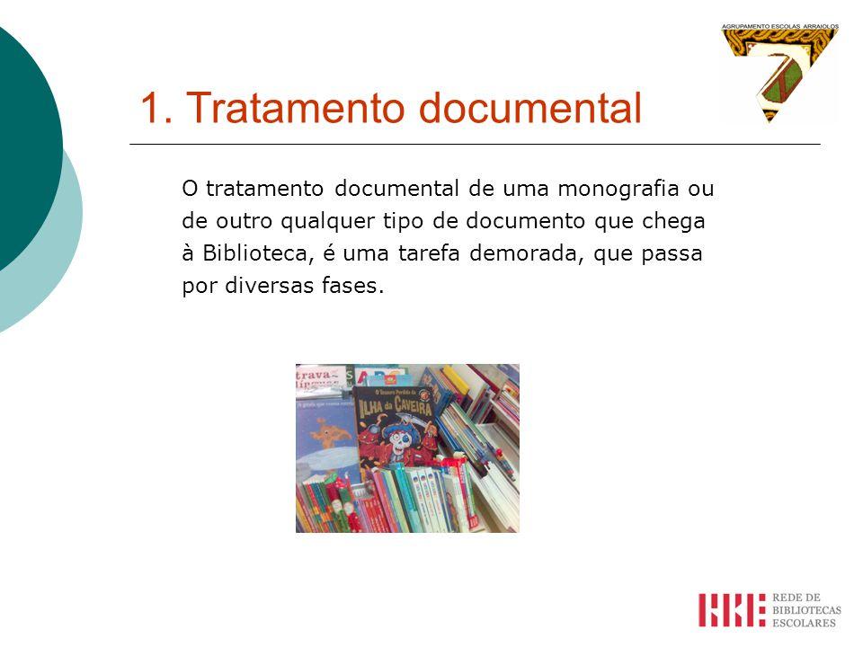 1. Tratamento documental O tratamento documental de uma monografia ou de outro qualquer tipo de documento que chega à Biblioteca, é uma tarefa demorad
