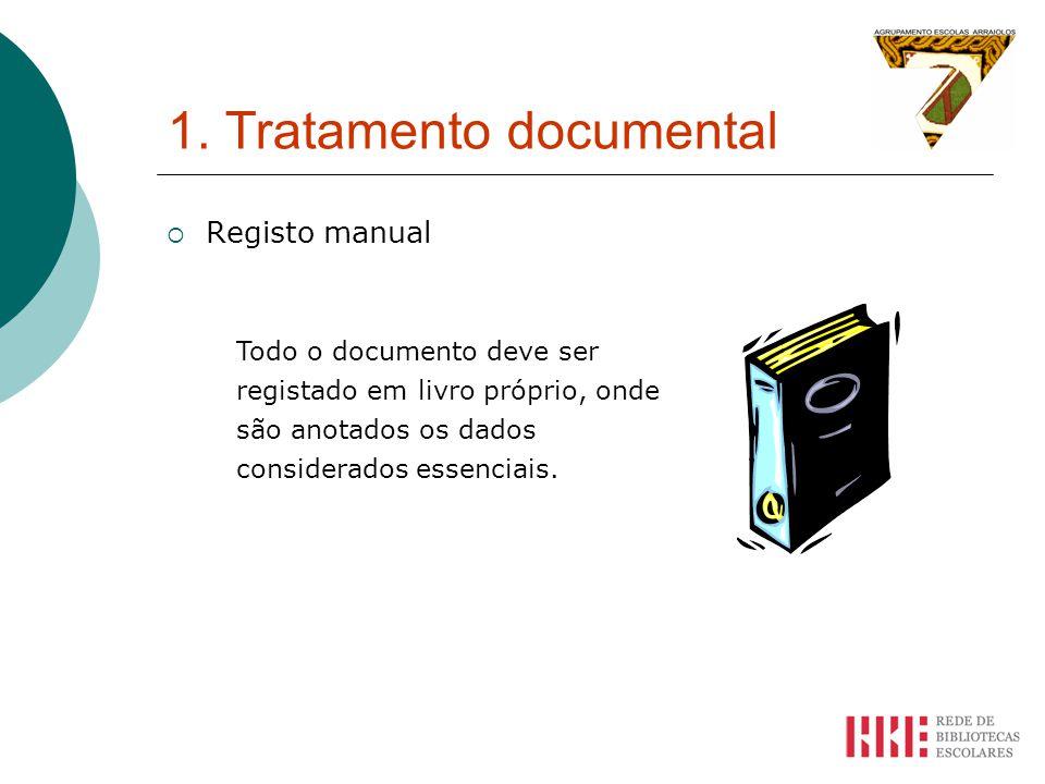 1. Tratamento documental Registo manual Todo o documento deve ser registado em livro próprio, onde são anotados os dados considerados essenciais.