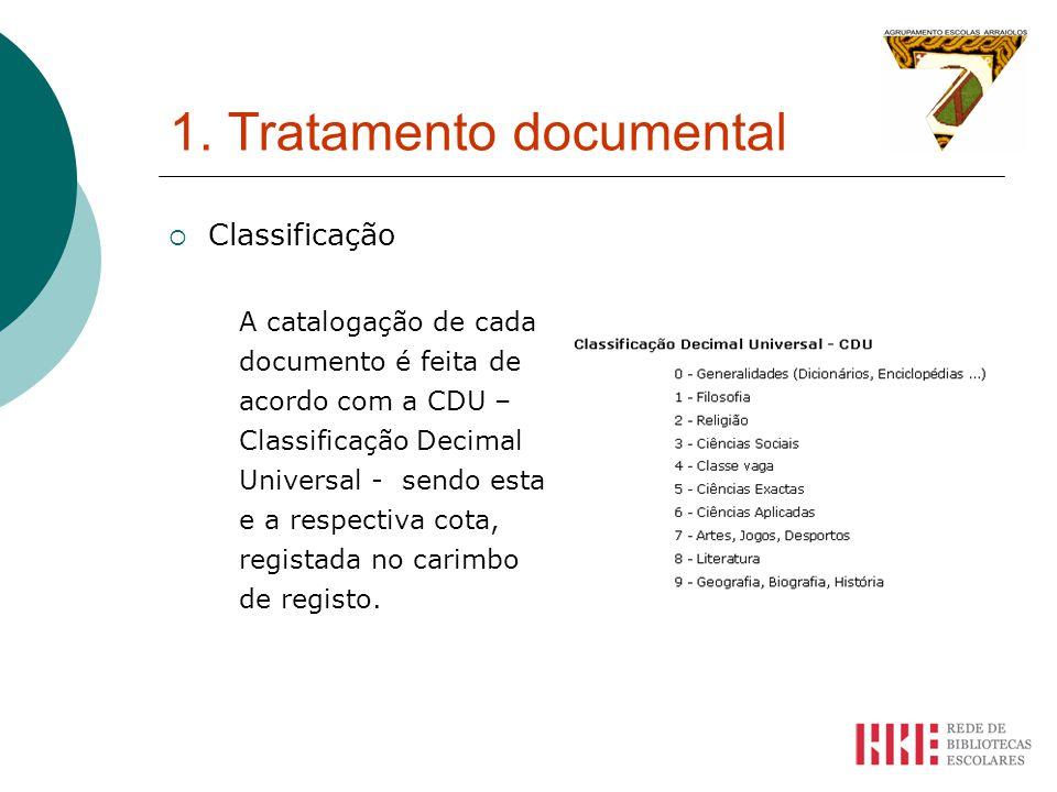 1. Tratamento documental Classificação A catalogação de cada documento é feita de acordo com a CDU – Classificação Decimal Universal - sendo esta e a