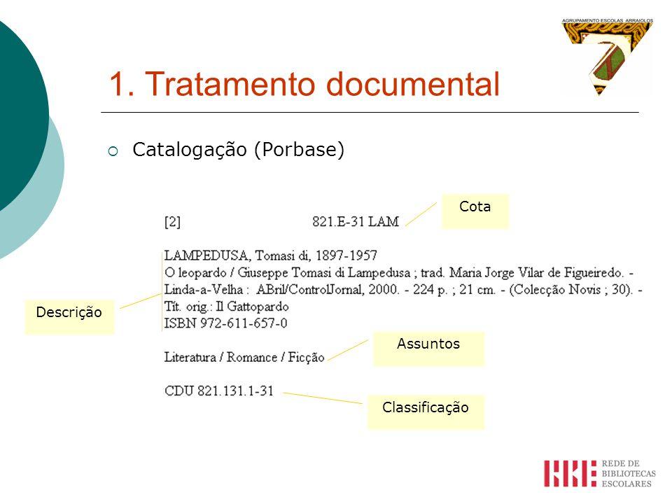 1. Tratamento documental Catalogação (Porbase) Cota Assuntos Classificação Descrição