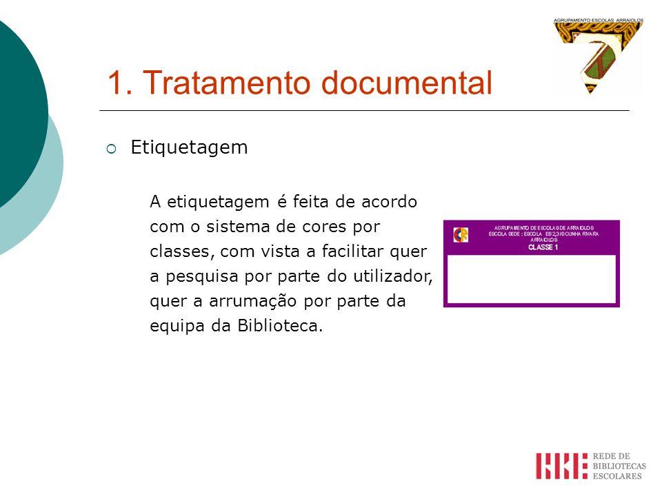 1. Tratamento documental Etiquetagem A etiquetagem é feita de acordo com o sistema de cores por classes, com vista a facilitar quer a pesquisa por par