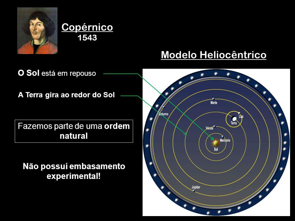 Copérnico 1543 Modelo Heliocêntrico O Sol está em repouso A Terra gira ao redor do Sol Não possui embasamento experimental! Fazemos parte de uma ordem