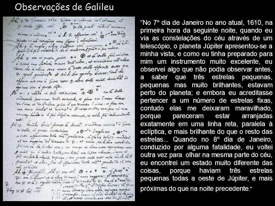 Observações de Galileu No 7º dia de Janeiro no ano atual, 1610, na primeira hora da seguinte noite, quando eu via as constelações do céu através de um