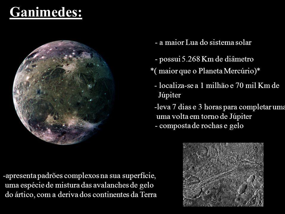 Ganimedes: - a maior Lua do sistema solar - possui 5.268 Km de diâmetro *( maior que o Planeta Mercúrio)* - localiza-se a 1 milhão e 70 mil Km de Júpi