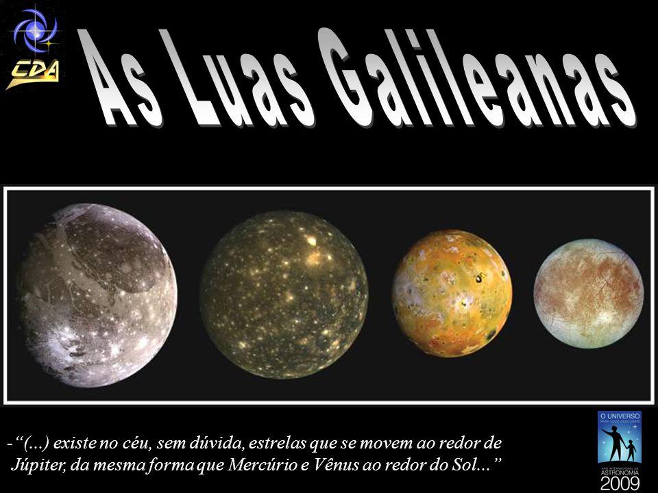 Calisto: -é a mais externa das Luas galileanas - possui 4.800 Km de diâmetro *( pouco menor do que o Planeta Mercúrio)* -localiza-se a 1 milhão, 883 mil Km de Júpi- ter - leva 16 dias e 16 horas para completar uma volta em torno de Júpiter - composta basicamente por rochas, mas tam- bém há gelo -possui a superfície mais craterada até agora encontra- no sistema solar, evidenciando um passado onde im- pactos de asteróides e cometas eram muito mais fre- quentes do que hoje