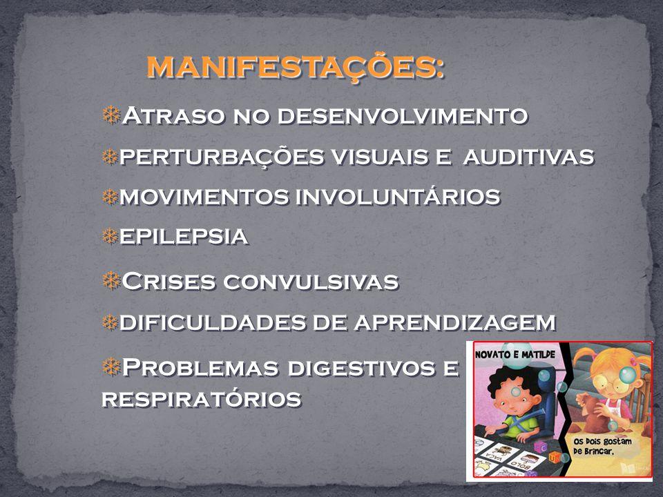 MANIFESTAÇÕES: MANIFESTAÇÕES: Atraso no DESENVOLVIMENTO PERTURBAÇÕES VISUAIS E AUDITIVAS MOVIMENTOS INVOLUNTÁRIOS EPILEPSIA Crises convulsivas DIFICULDADES DE APRENDIZAGEM Problemas digestivos e respiratórios MANIFESTAÇÕES: MANIFESTAÇÕES: Atraso no DESENVOLVIMENTO PERTURBAÇÕES VISUAIS E AUDITIVAS MOVIMENTOS INVOLUNTÁRIOS EPILEPSIA Crises convulsivas DIFICULDADES DE APRENDIZAGEM Problemas digestivos e respiratórios