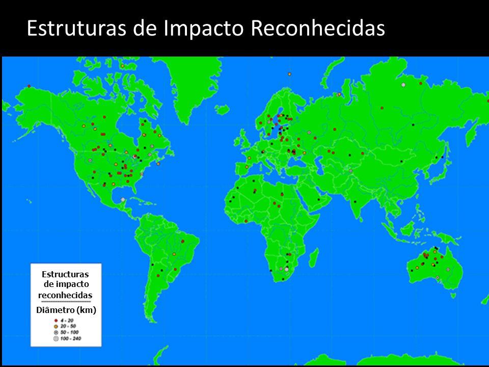 Diâmetro (km) Estructuras de impacto reconhecidas Estruturas de Impacto Reconhecidas