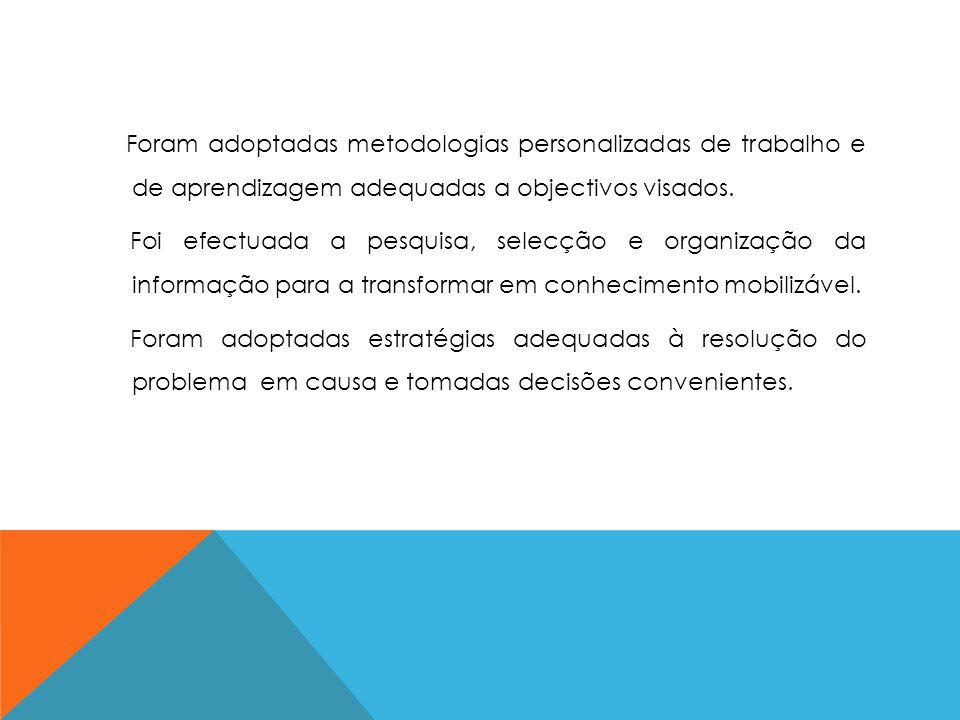 Foram adoptadas metodologias personalizadas de trabalho e de aprendizagem adequadas a objectivos visados.