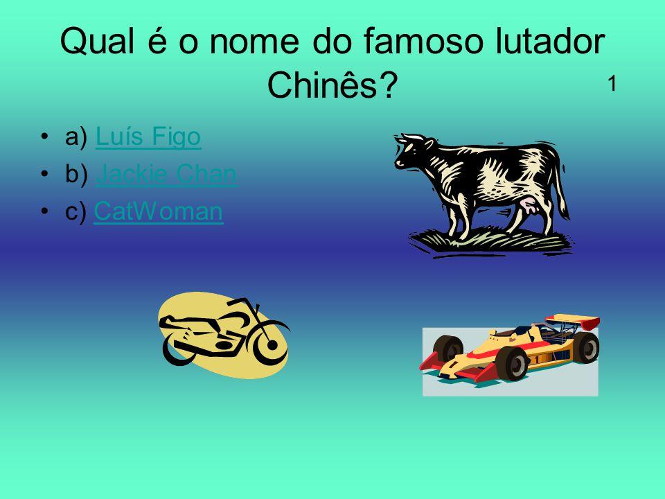 Qual é o nome do famoso lutador Chinês? a) Luís FigoLuís Figo b) Jackie ChanJackie Chan c) CatWomanCatWoman 1