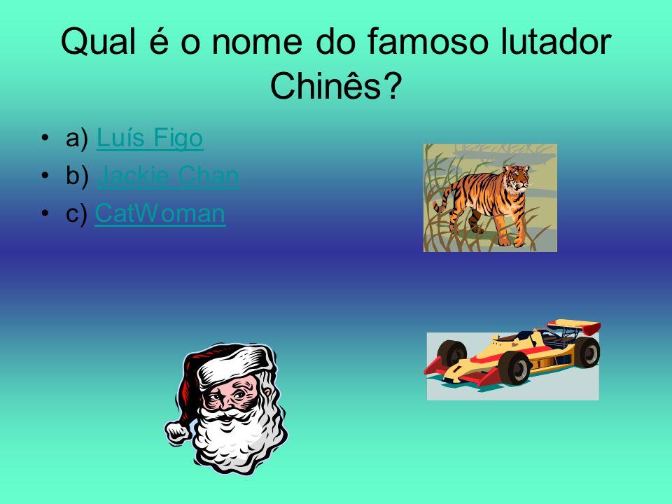 Qual é o nome do famoso lutador Chinês? a) Luís FigoLuís Figo b) Jackie ChanJackie Chan c) CatWomanCatWoman