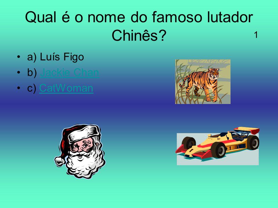Qual é o nome do famoso lutador Chinês? a) Luís Figo b) Jackie ChanJackie Chan c) CatWomanCatWoman 1