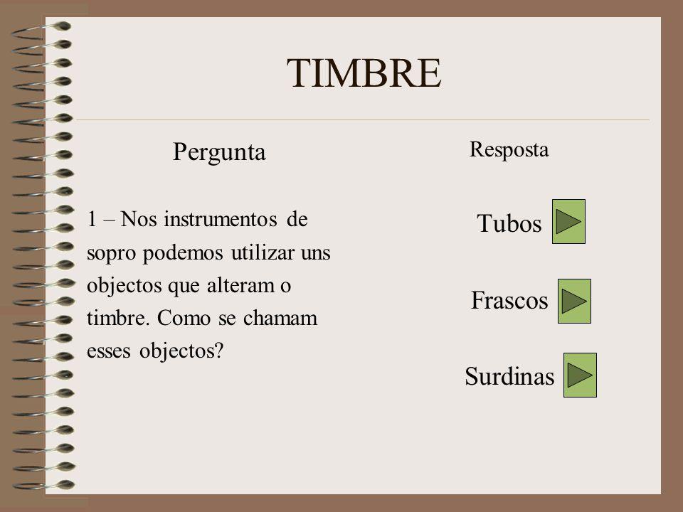 TIMBRE Pergunta 1 – Nos instrumentos de sopro podemos utilizar uns objectos que alteram o timbre.