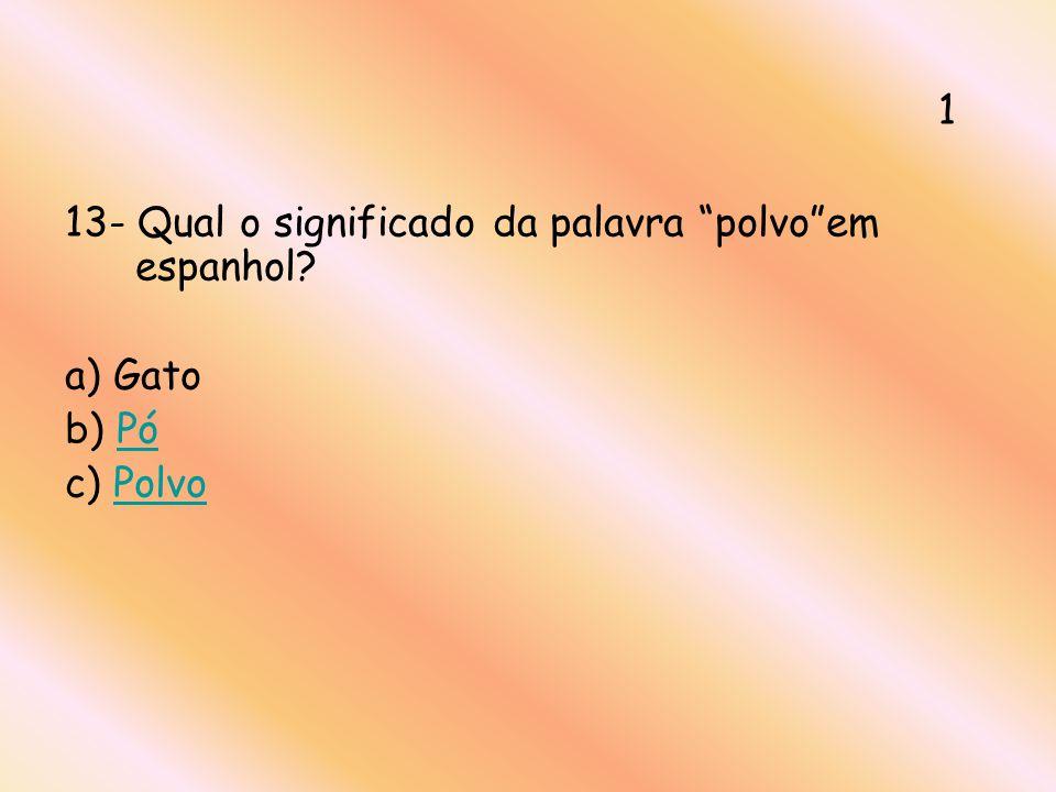 13- Qual o significado da palavra polvoem espanhol? a) Gato b) PóPó c) PolvoPolvo 1