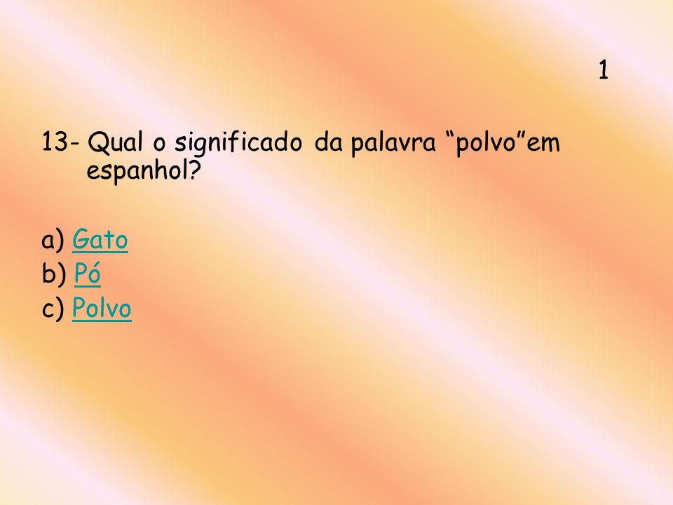 13- Qual o significado da palavra polvoem espanhol? a) GatoGato b) PóPó c) PolvoPolvo 1