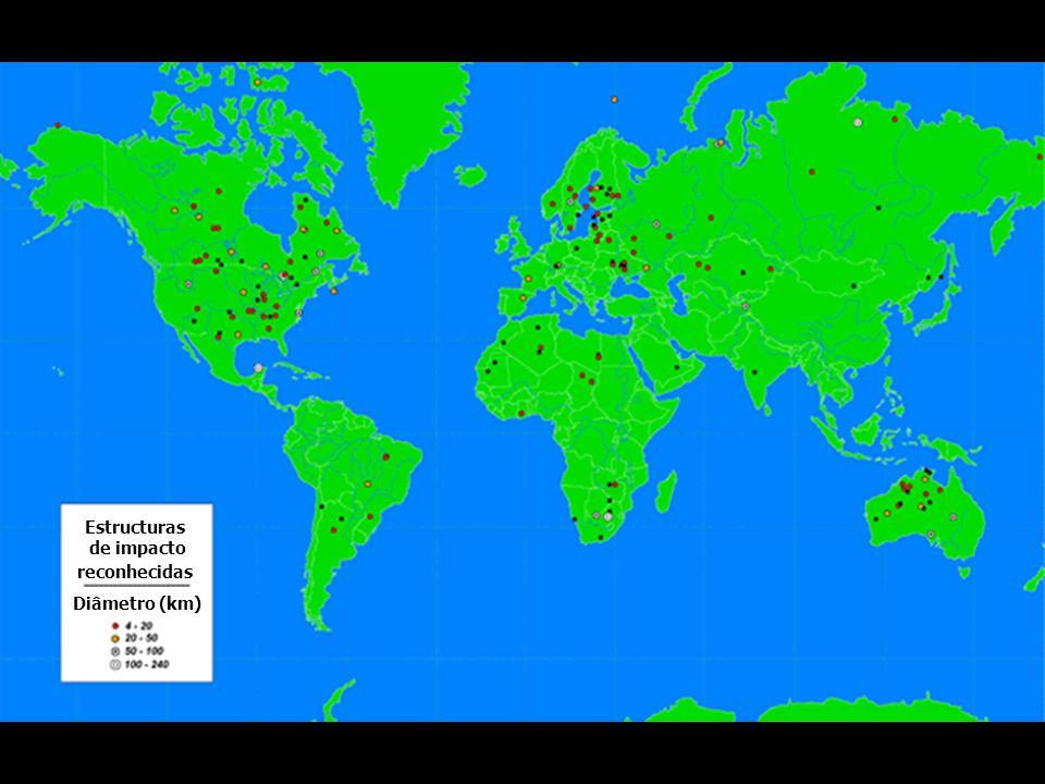 Diâmetro (km) Estructuras de impacto reconhecidas