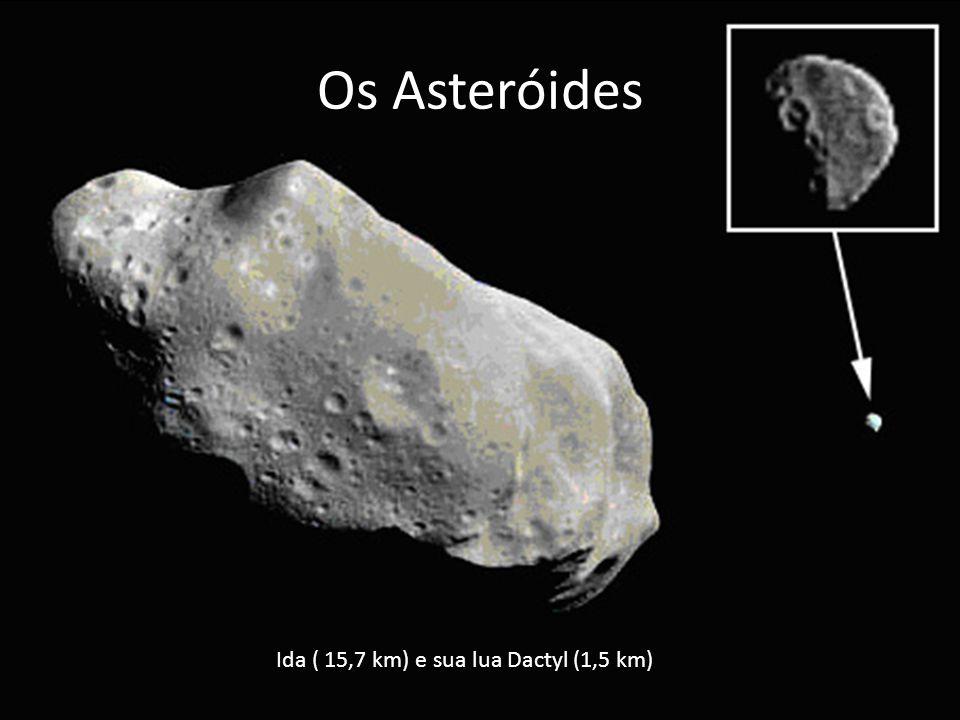 Os Asteróides Ida ( 15,7 km) e sua lua Dactyl (1,5 km)