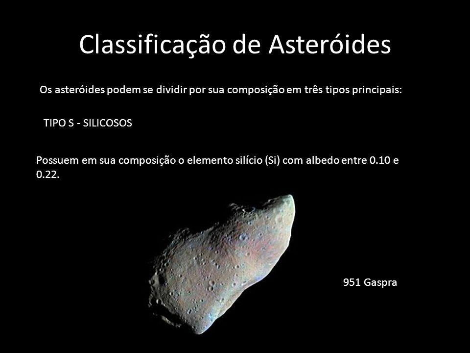 Classificação de Asteróides Os asteróides podem se dividir por sua composição em três tipos principais: TIPO S - SILICOSOS Possuem em sua composição o