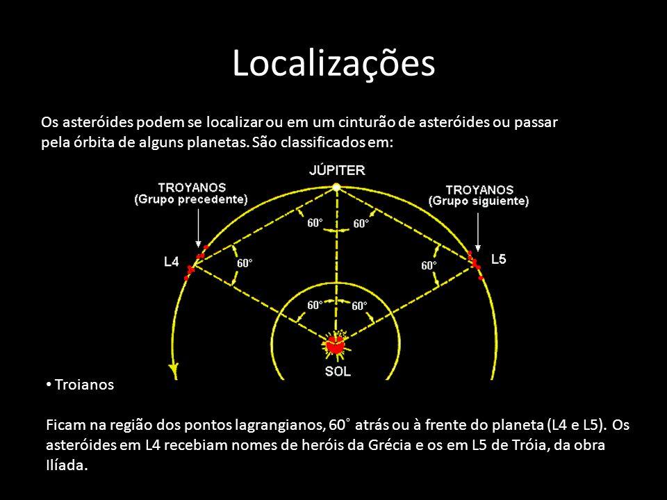 Localizações Os asteróides podem se localizar ou em um cinturão de asteróides ou passar pela órbita de alguns planetas. São classificados em: Troianos