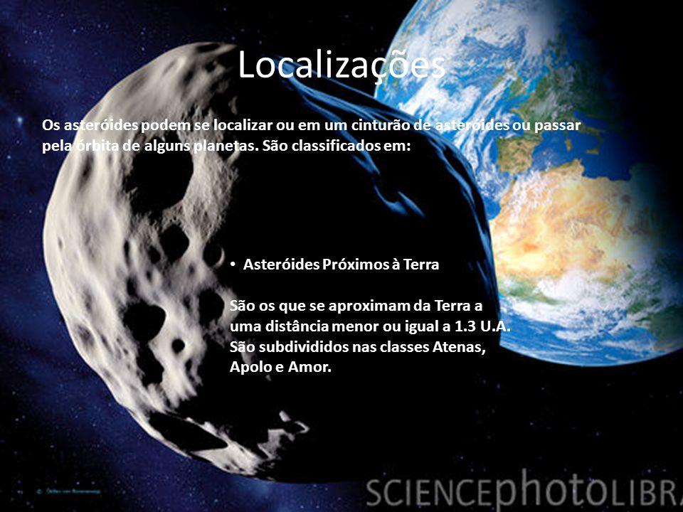 Localizações Os asteróides podem se localizar ou em um cinturão de asteróides ou passar pela órbita de alguns planetas. São classificados em: Asteróid