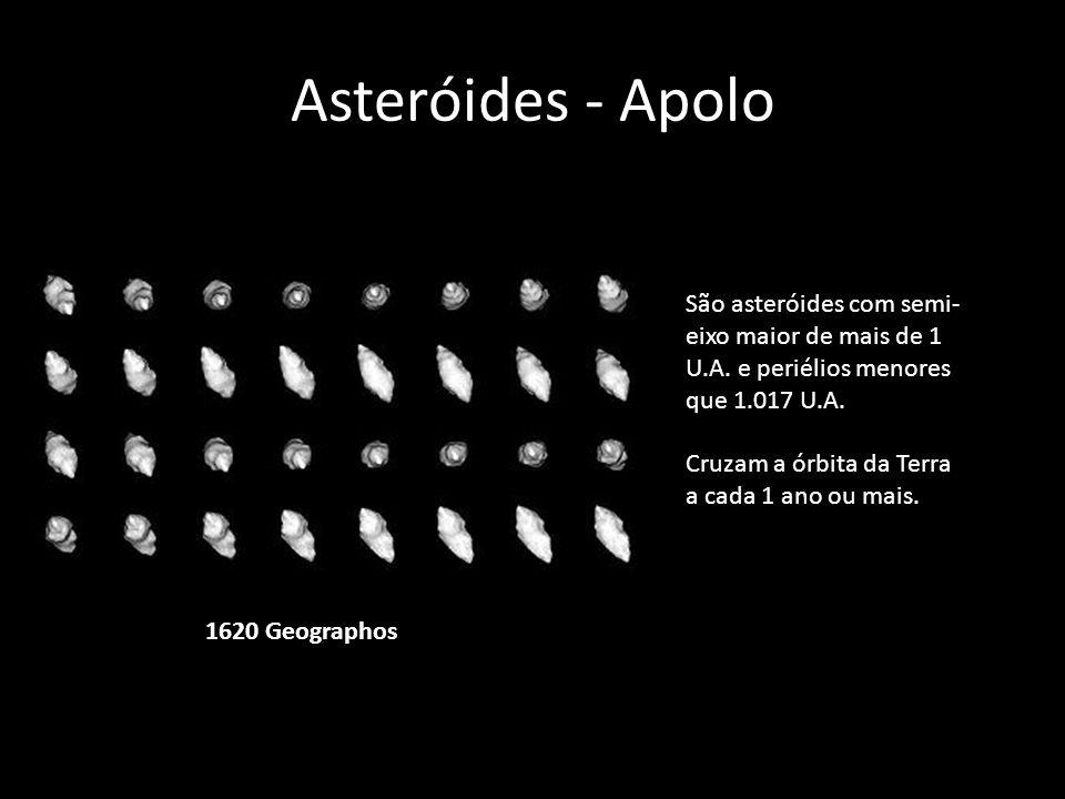 Asteróides - Apolo 1620 Geographos São asteróides com semi- eixo maior de mais de 1 U.A. e periélios menores que 1.017 U.A. Cruzam a órbita da Terra a