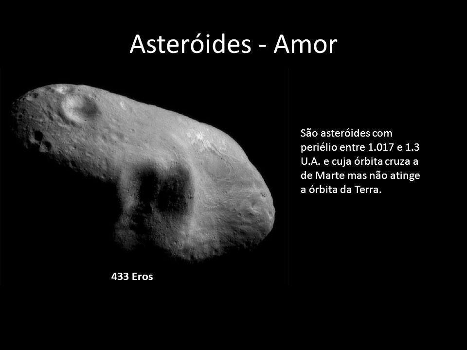 Asteróides - Amor 433 Eros São asteróides com periélio entre 1.017 e 1.3 U.A. e cuja órbita cruza a de Marte mas não atinge a órbita da Terra.