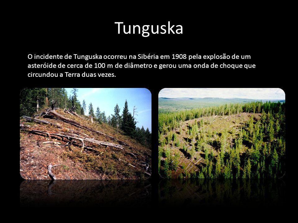 Tunguska O incidente de Tunguska ocorreu na Sibéria em 1908 pela explosão de um asteróide de cerca de 100 m de diâmetro e gerou uma onda de choque que
