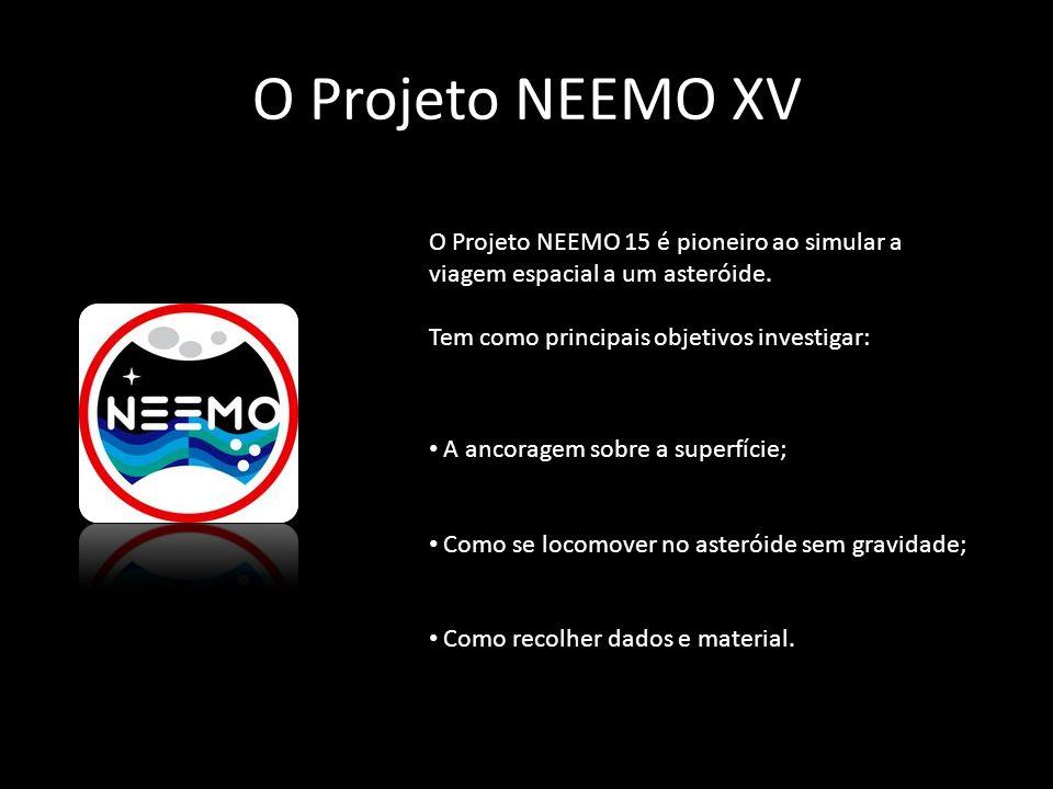 O Projeto NEEMO XV O Projeto NEEMO 15 é pioneiro ao simular a viagem espacial a um asteróide. Tem como principais objetivos investigar: A ancoragem so
