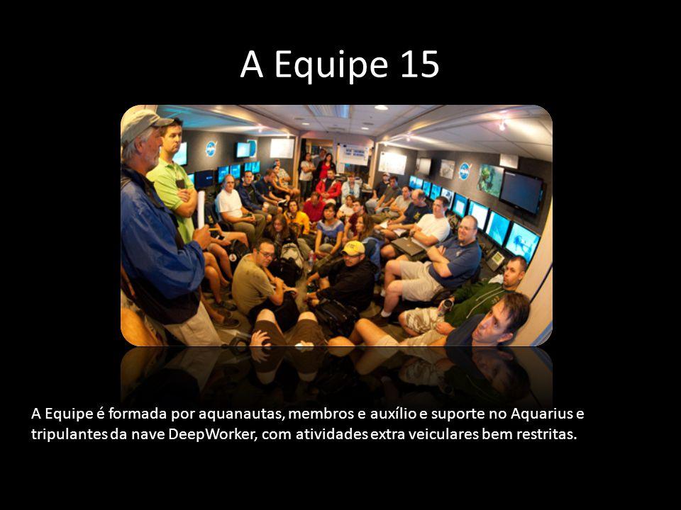 A Equipe 15 A Equipe é formada por aquanautas, membros e auxílio e suporte no Aquarius e tripulantes da nave DeepWorker, com atividades extra veicular