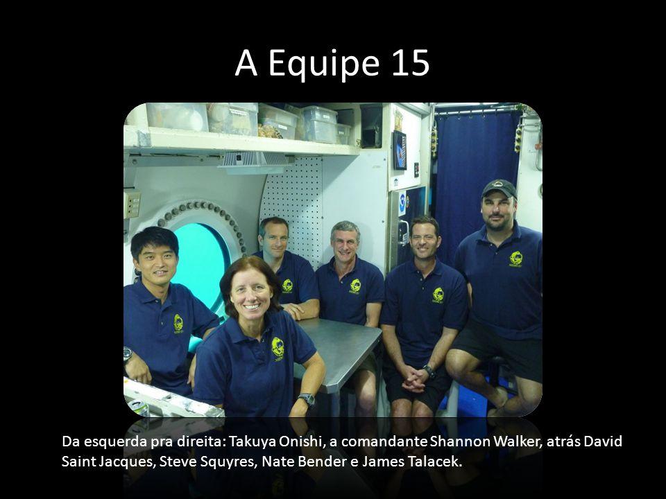 A Equipe 15 Da esquerda pra direita: Takuya Onishi, a comandante Shannon Walker, atrás David Saint Jacques, Steve Squyres, Nate Bender e James Talacek