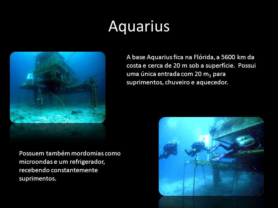 Aquarius A base Aquarius fica na Flórida, a 5600 km da costa e cerca de 20 m sob a superfície. Possui uma única entrada com 20 m 3 para suprimentos, c