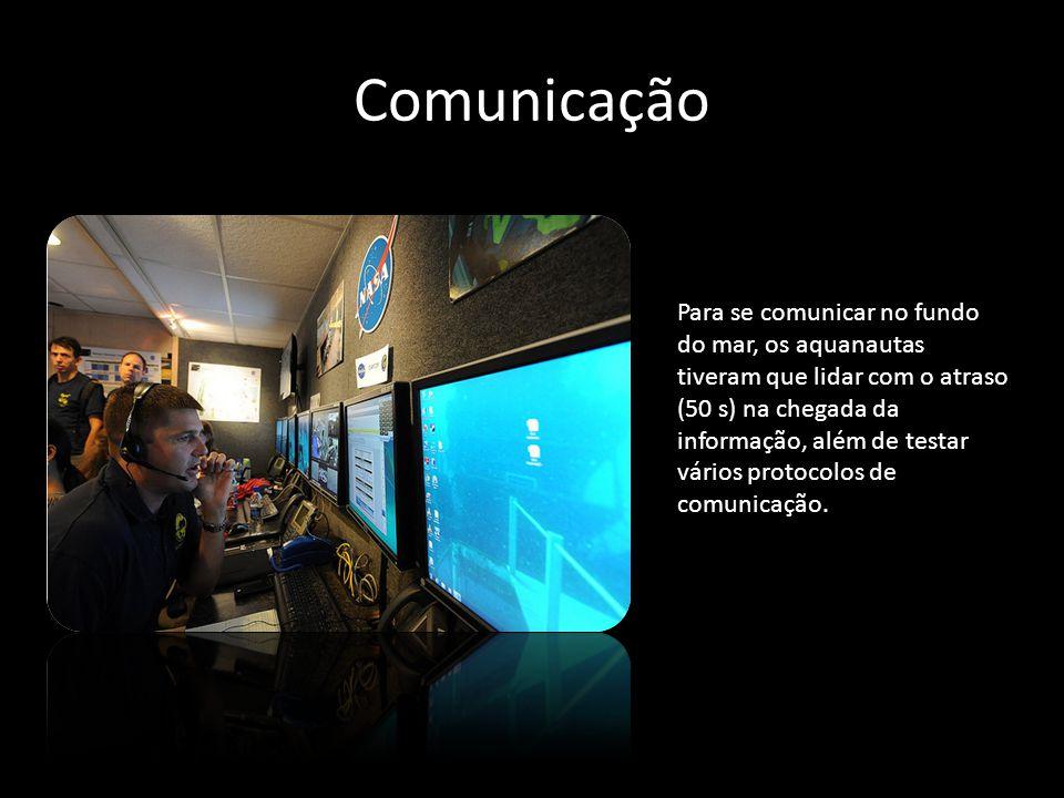 Comunicação Para se comunicar no fundo do mar, os aquanautas tiveram que lidar com o atraso (50 s) na chegada da informação, além de testar vários pro