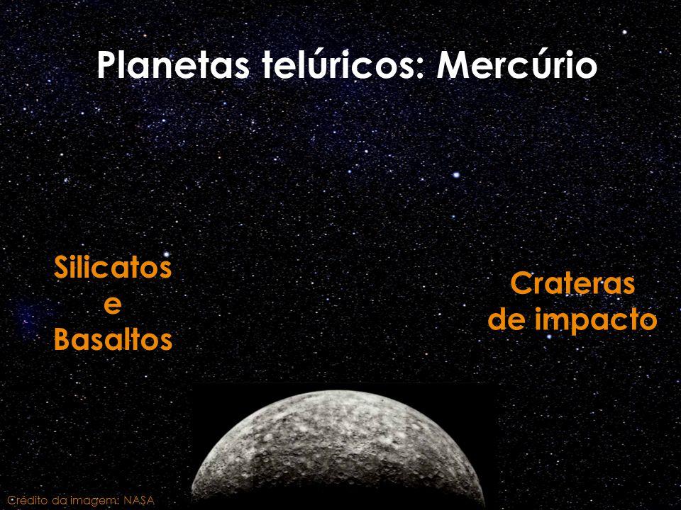 Planetas telúricos: Mercúrio Silicatos e Basaltos Crateras de impacto Crédito da imagem: NASA