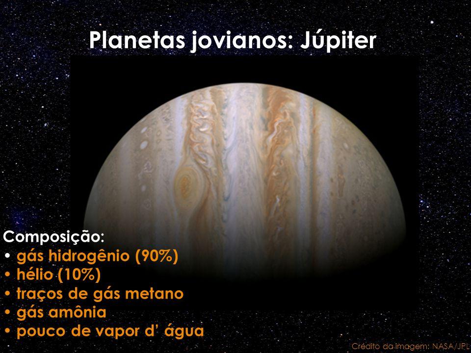 Planetas jovianos: Júpiter Composição: gás hidrogênio (90%) hélio (10%) traços de gás metano gás amônia pouco de vapor d água Crédito da imagem: NASA/