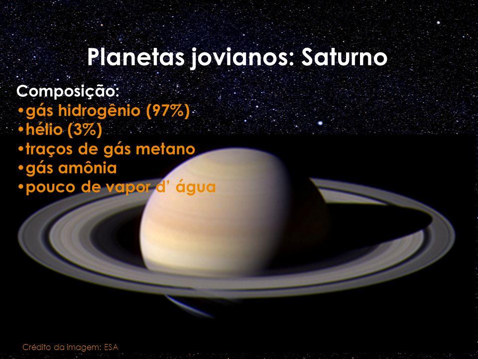 Planetas jovianos: Saturno Crédito da imagem: ESA Composição: gás hidrogênio (97%) hélio (3%) traços de gás metano gás amônia pouco de vapor d água