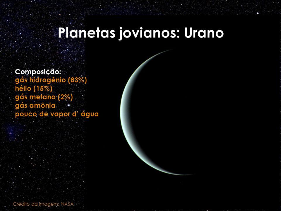 Planetas jovianos: Urano Crédito da imagem: NASA Composição: gás hidrogênio (83%) hélio (15%) gás metano (2%) gás amônia pouco de vapor d água