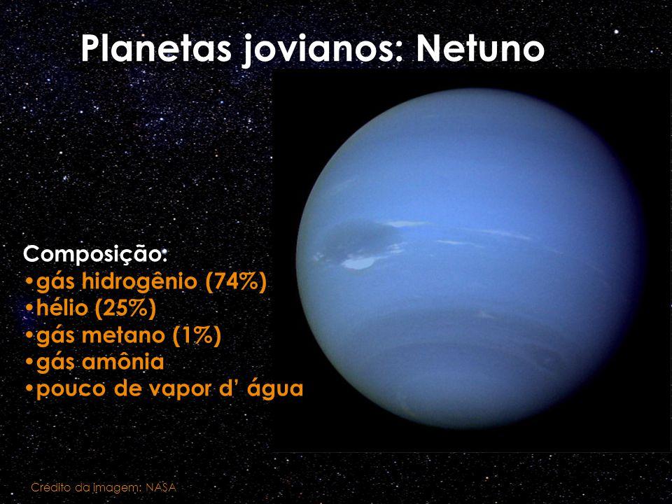 Planetas jovianos: Netuno Composição: gás hidrogênio (74%) hélio (25%) gás metano (1%) gás amônia pouco de vapor d água Crédito da imagem: NASA