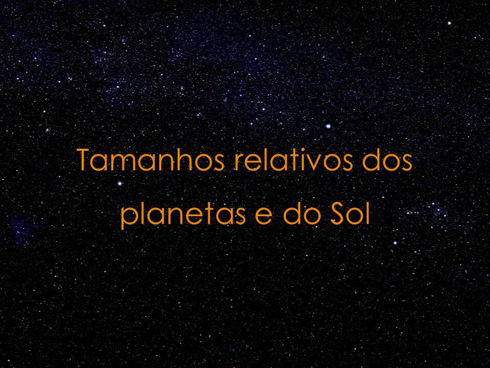 Tamanhos relativos dos planetas e do Sol