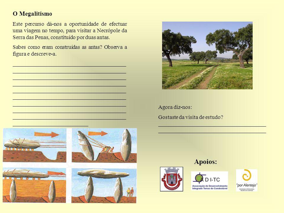O Megalitismo Este percurso dá-nos a oportunidade de efectuar uma viagem no tempo, para visitar a Necrópole da Serra das Penas, constituído por duas antas.