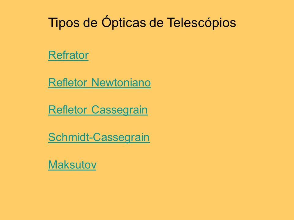 Tipos de Ópticas de Telescópios Refrator Refletor Newtoniano Refletor Cassegrain Schmidt-Cassegrain Maksutov