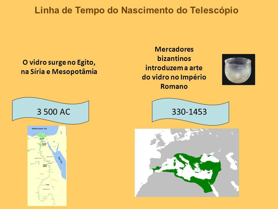 Linha de Tempo do Nascimento do Telescópio 13521280 Detalhe de um retrato de Hugh de Provença, pintado por Tomaso da Modena Um frade fábrica os primeiros cristais para a visão em um monastério de Pisa, Itália 1284 A Salvino D´Amato atribui-se a invenção do óculos