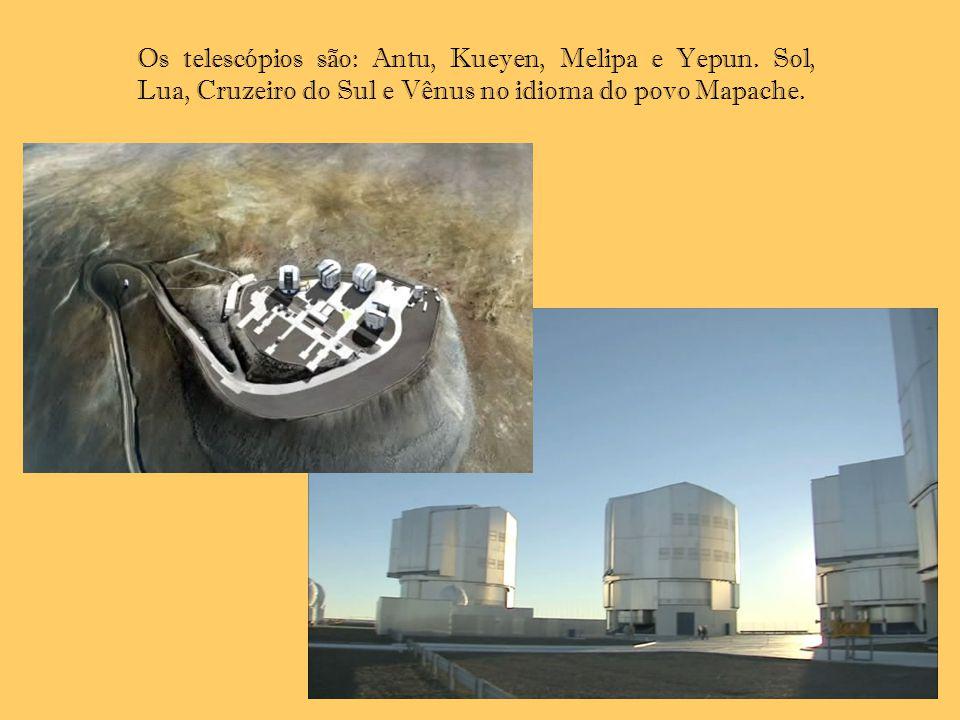Os telescópios são: Antu, Kueyen, Melipa e Yepun. Sol, Lua, Cruzeiro do Sul e Vênus no idioma do povo Mapache.