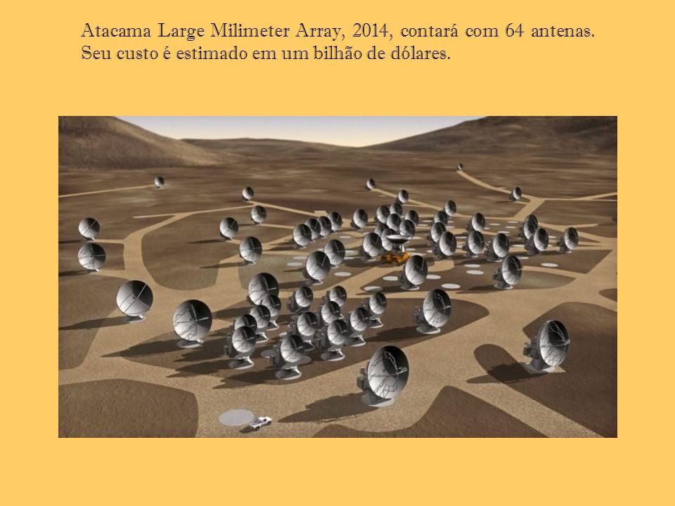 Atacama Large Milimeter Array, 2014, contará com 64 antenas. Seu custo é estimado em um bilhão de dólares.