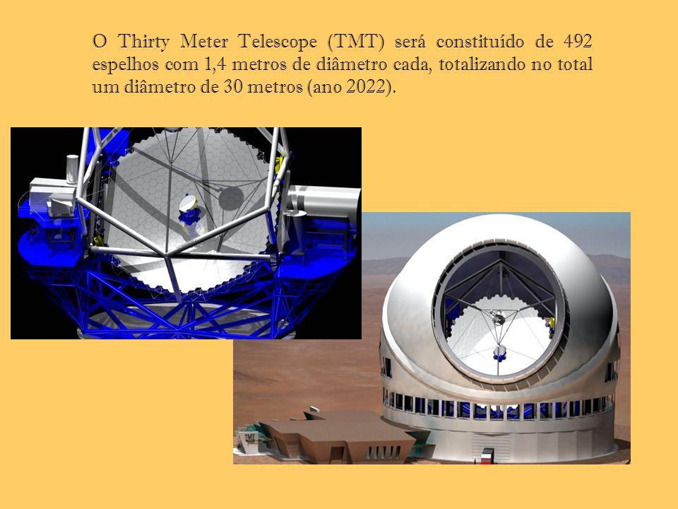 O Thirty Meter Telescope (TMT) será constituído de 492 espelhos com 1,4 metros de diâmetro cada, totalizando no total um diâmetro de 30 metros (ano 20