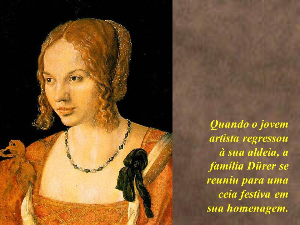<> Quando o jovem artista regressou à sua aldeia, a família Dürer se reuniu para uma ceia festiva em sua homenagem.
