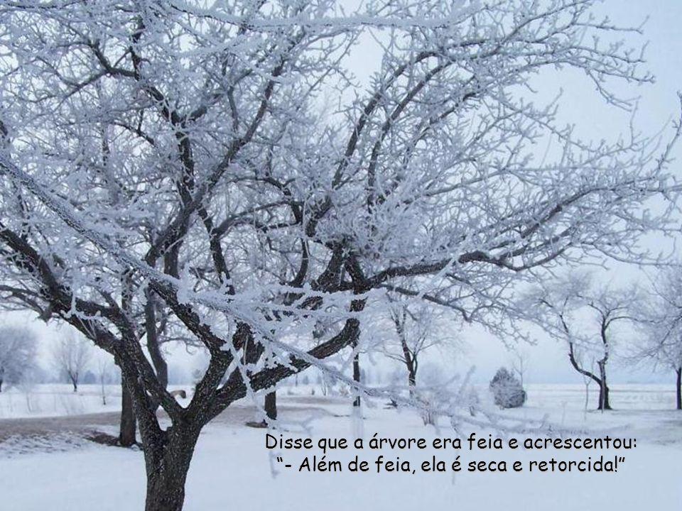 Disse que a árvore era feia e acrescentou: - Além de feia, ela é seca e retorcida!