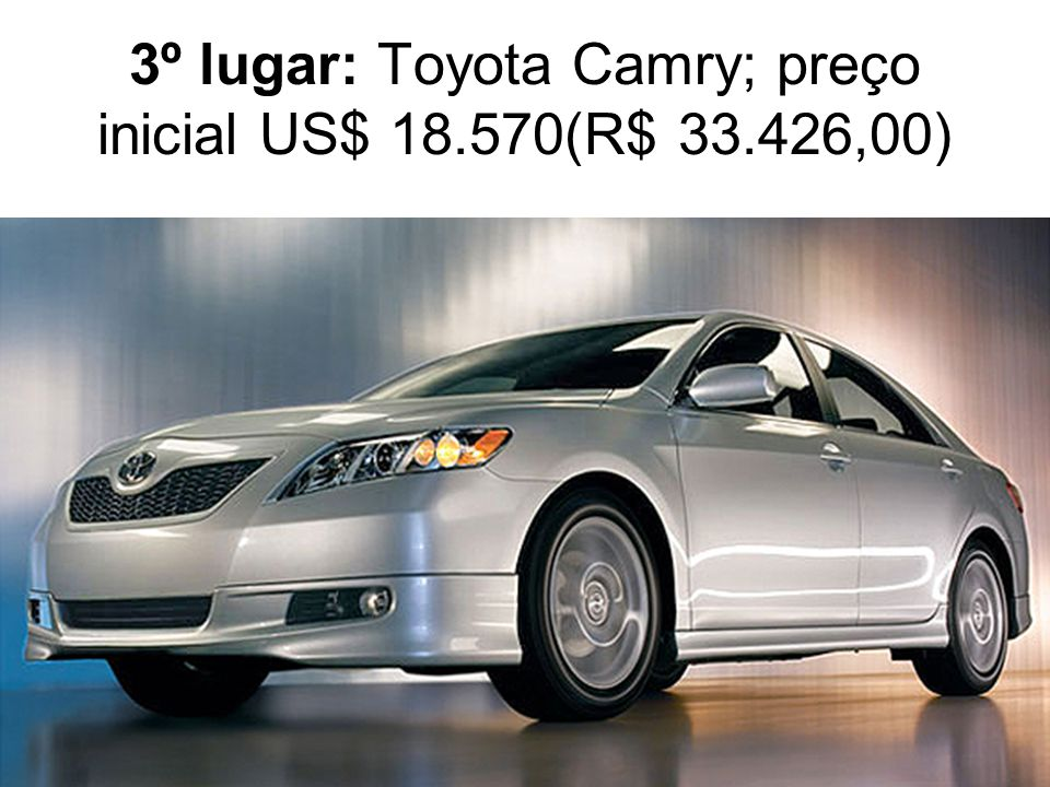 3º lugar: Toyota Camry; preço inicial US$ 18.570(R$ 33.426,00)