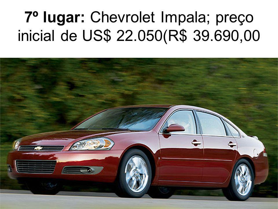 7º lugar: Chevrolet Impala; preço inicial de US$ 22.050(R$ 39.690,00