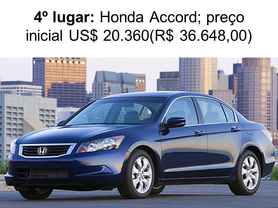 4º lugar: Honda Accord; preço inicial US$ 20.360(R$ 36.648,00)